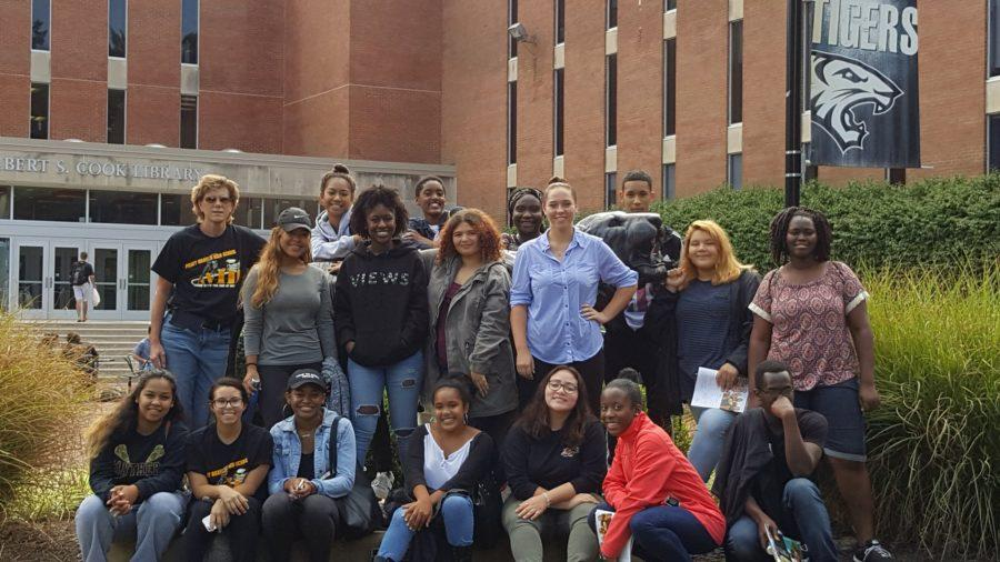 Avid 12 poses for a group photo during college visit to Towson University.