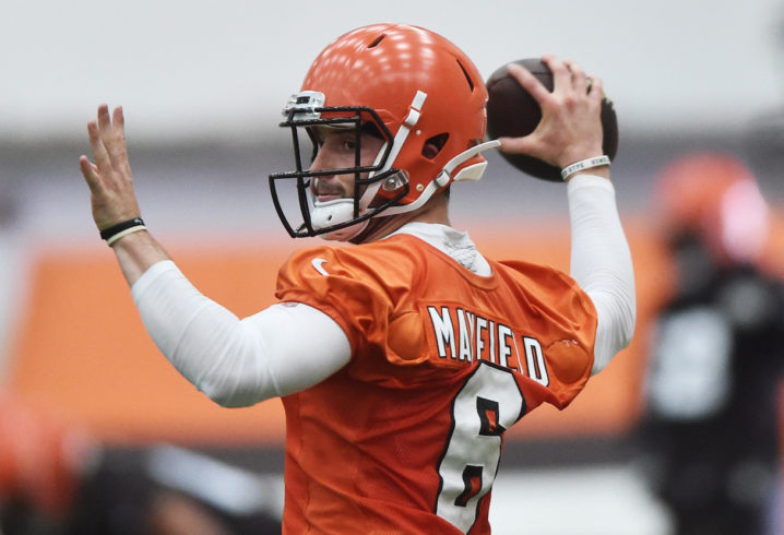 May 4, 2018; Berea, OH, USA; Cleveland Browns quarterback Baker Mayfield (6) throws a pass during rookie minicamp at the Cleveland Browns training facility. Mandatory Credit: Ken Blaze-USA TODAY Sports