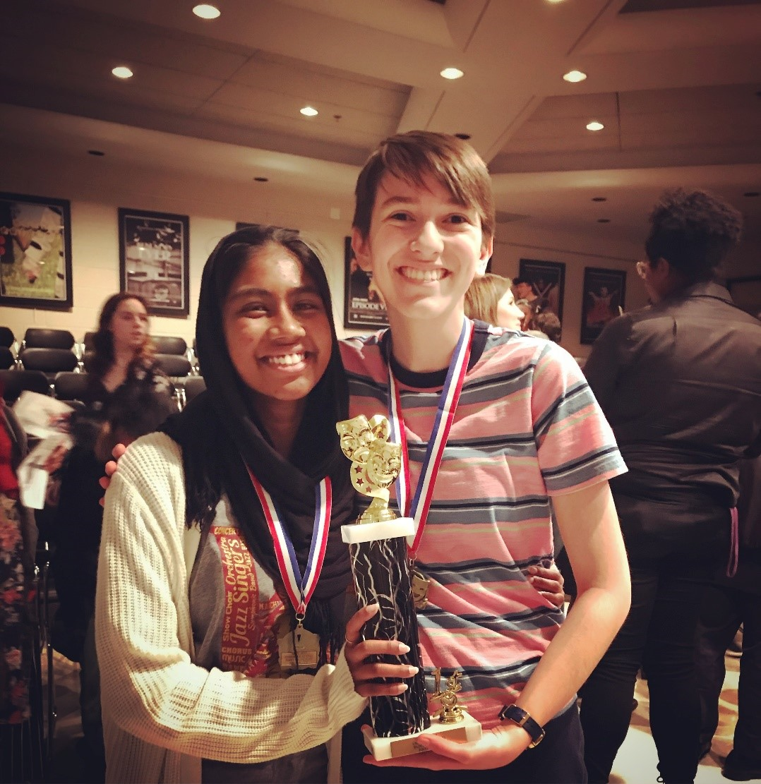 Safiya Muthaliff and Mary Shawhan won first place in Ensemble Acting from the Montgomery County Forensics League.