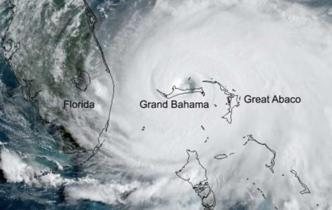 Hurricane Dorian as seen from aerial shots.