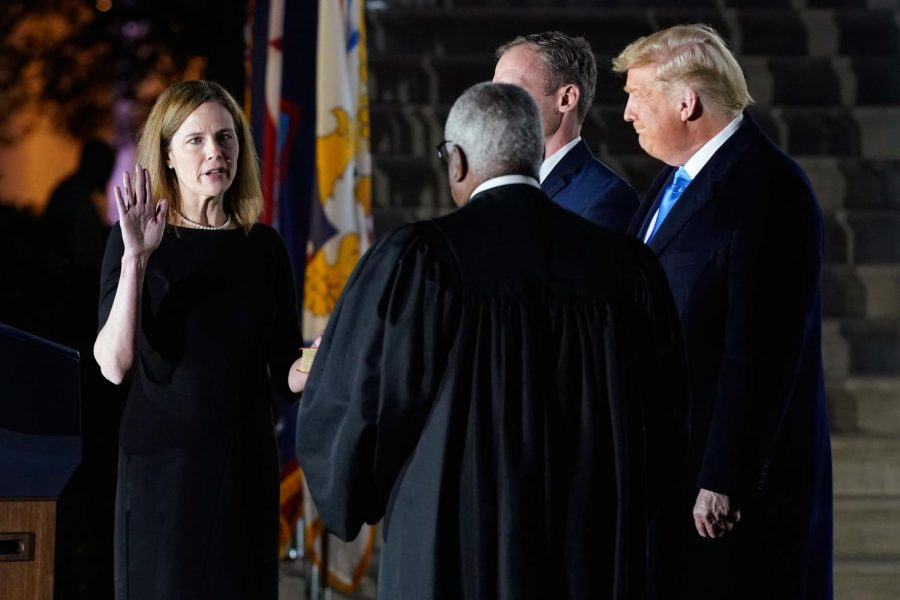 Amy Coney Barrett was sworn in by Justice Clarence Thomas, the longest tenured justice on the court.