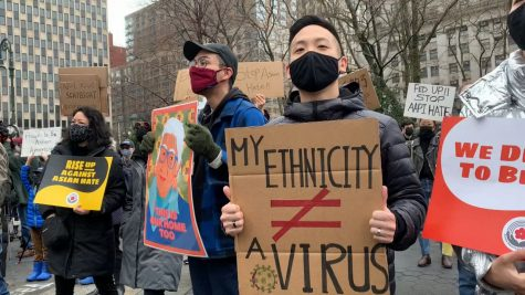 #StopAsianHate protest on February 27th in New York.  Photo from ny1.com