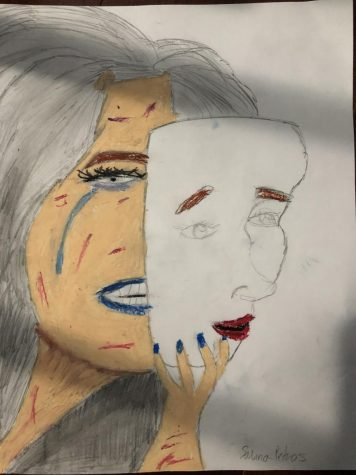 My grey hair shows my stress; my warm tears reveal the sadness I feel and the pressure I am under. But my mask hides this and shows the world a counterfeit face that I wear.